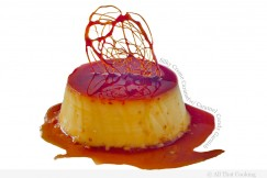 Silky Creme Caramel with Caramel Candy Garnish