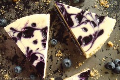 Silky Decadent Blueberry Swirl and Basil Cheesecake