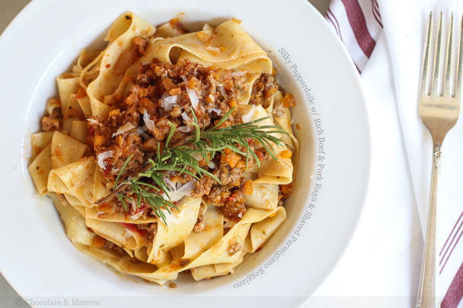 Silky Pappardelle with Rich Beef and Pork Ragu and Shaved Parmigiano ...