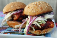 Smokey Bbq Chicken Sliders with Cool Crunchy Coleslaw on Sesame Seed Buns