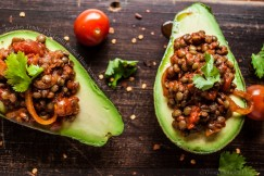 Smokey Tender Puy Lentil Stuffed Hass Avocados