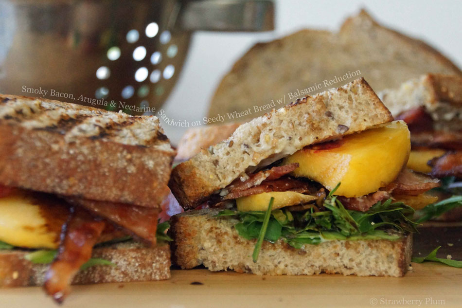 Smoky Bacon, Arugula and Nectarine Sandwich on Seedy Wheat Bread with Balsamic Reduction