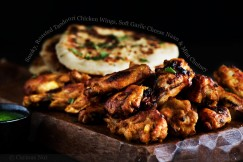 Smoky, Roasted Tandoori Chicken Wings, Soft Garlic Cheese Naan and Mint Chutney