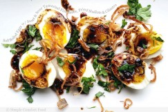 Soft Boiled Eggs with Sweet and Sour Tamarind Fish Sauce, Fried Shallots and Cilantro