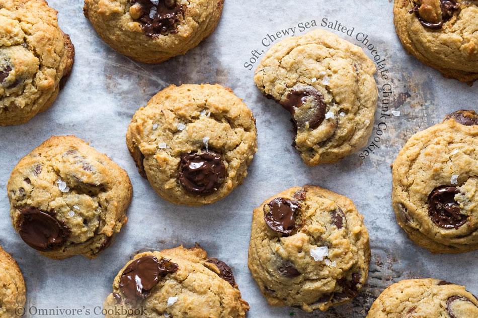 Soft, Chewy Sea Salted Chocolate Chunk Cookies
