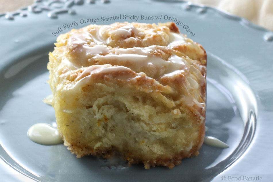 Soft Fluffy Orange Scented Sticky Buns with Orange Glaze