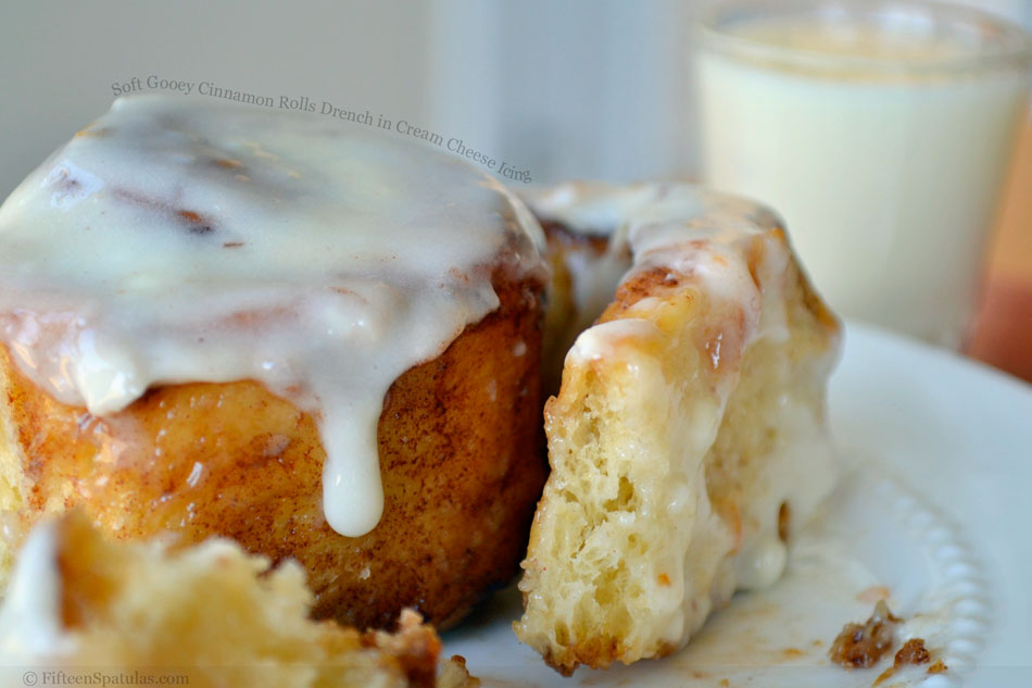 Soft Gooey Cinnamon Rolls Drench in Cream Cheese Icing