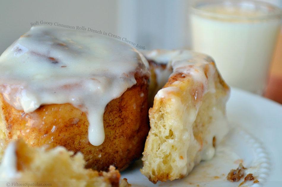 Soft Gooey Cinnamon Rolls Drench in Cream Cheese Icing