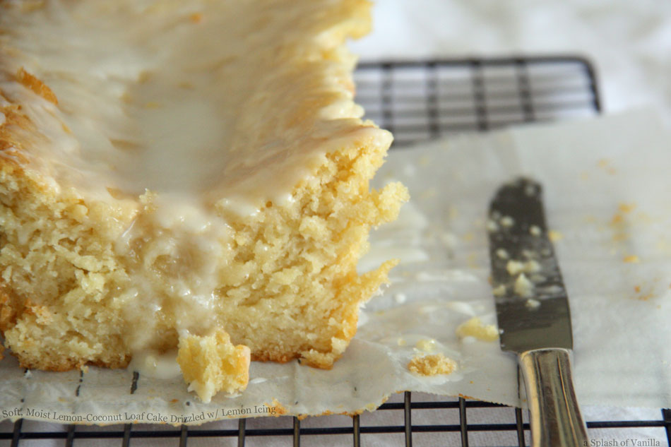 Soft, Moist Lemon-Coconut Loaf Cake Drizzled with Lemon Icing