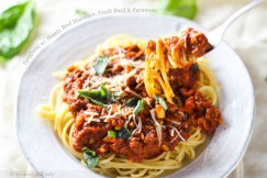 Spaghetti with Hearty Beef Marinara, Fresh Basil and Parmesan