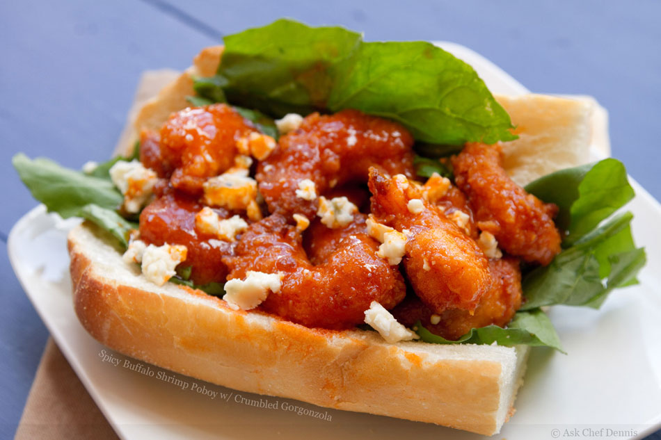 Spicy Buffalo Shrimp Poboy with Crumbled Gorgonzola