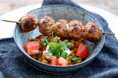 Spicy Chana Masala with Grilled Pork Meatball Skewer