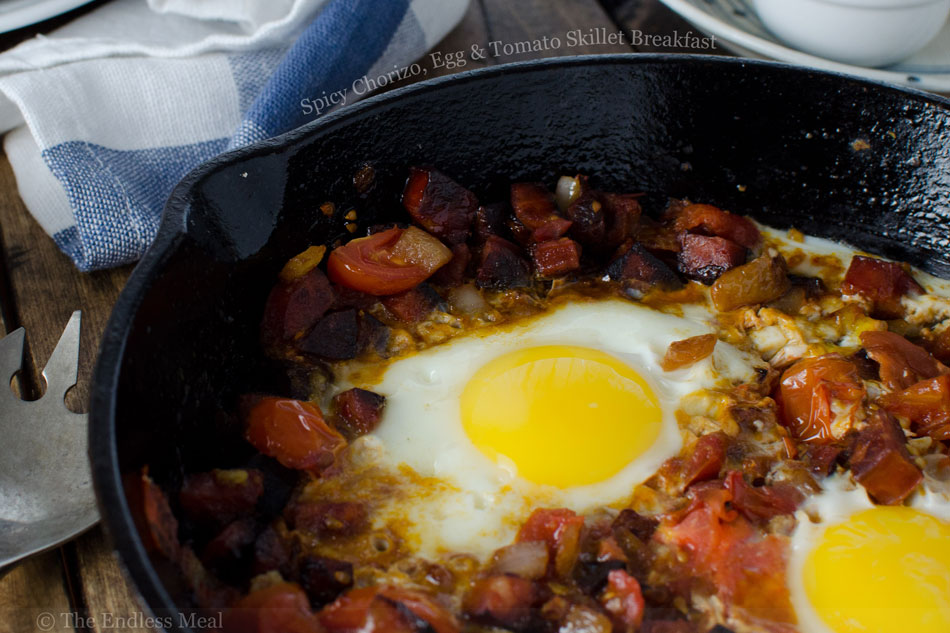 Spicy Chorizo, Egg and Tomato Skillet Breakfast