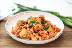 Spicy Kimchi and Tofu Fried Rice with Green Onions