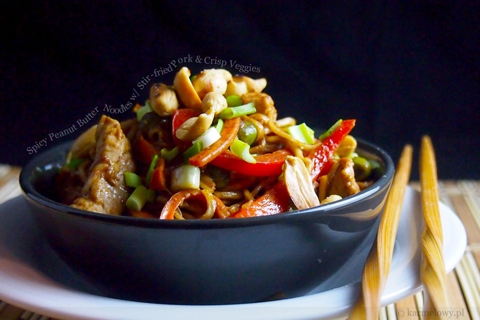 Spicy Peanut Butter Noodles with Stir-fried Pork and Crisp Veggies