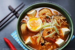 Spicy Prawn and Tofu Ramen Noodle Soup with Seafood Stock and a Soft Boiled Egg
