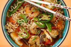 Spicy Ramen in Broth with Plump Shrimp, Peppers, Mushrooms and Sriracha