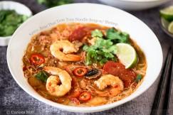 Spicy, Sour Thai Tom Yum Noodle Soup with Shrimp