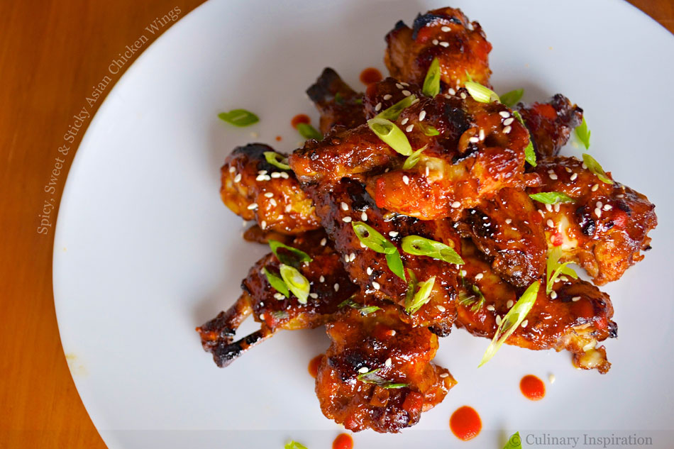 Spicy, Sweet and Sticky Asian Chicken Wings