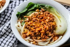 Spicy Szechuan Minced Pork Dan Dan Noodles with Bok Choy