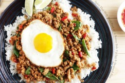 Spicy Thai Holy Basil Pork with a Sunny Side Up Egg and Steamed Rice