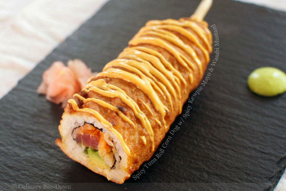 Spicy Tuna Roll Corn Dog with Spicy Kewpie Mayo and Wasabi Mustard