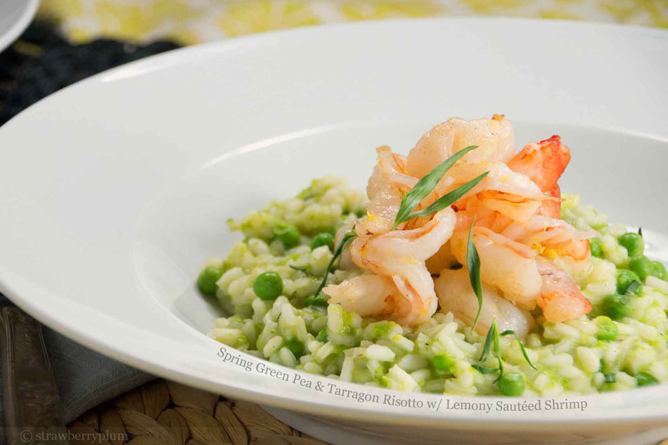 Spring Green Pea and Tarragon Risotto with Lemony Sauteed Shrimp