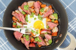 Steak and Eggs Breakfast Skillet with Sauteed  Radishes and Carrots and Radish Greens Pesto