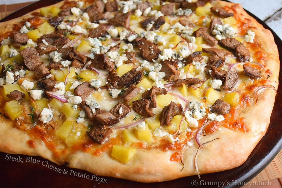 Steak, Blue Cheese and Potato Pizza