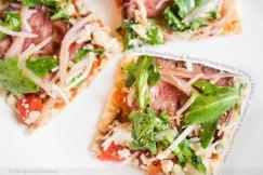 Flatbread Pizza with Roasted Tomato Relish, Arugula, Shallots, Parmesan and Balsamic Vinegar