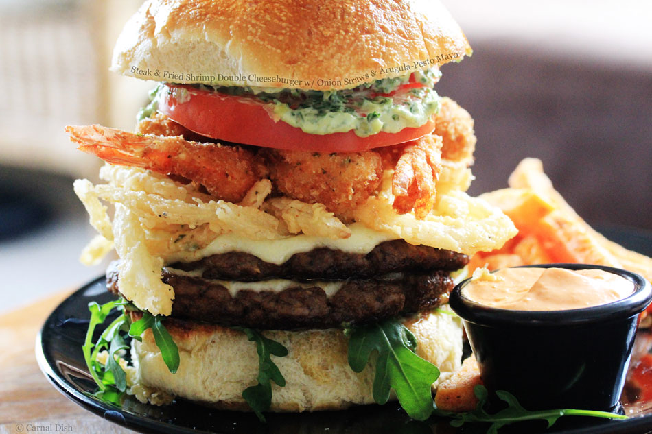 Steak and Fried Shrimp Double Cheeseburger with Onion Straws and Arugula-Pesto Mayo