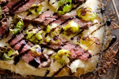Steak, Goat Cheese and  Roasted Brussels Sprouts Flatbread