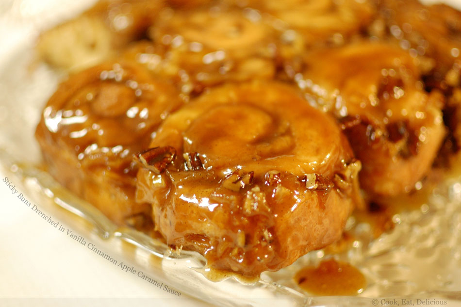 Sticky Buns Drenched in Vanilla Cinnamon Apple Caramel Sauce