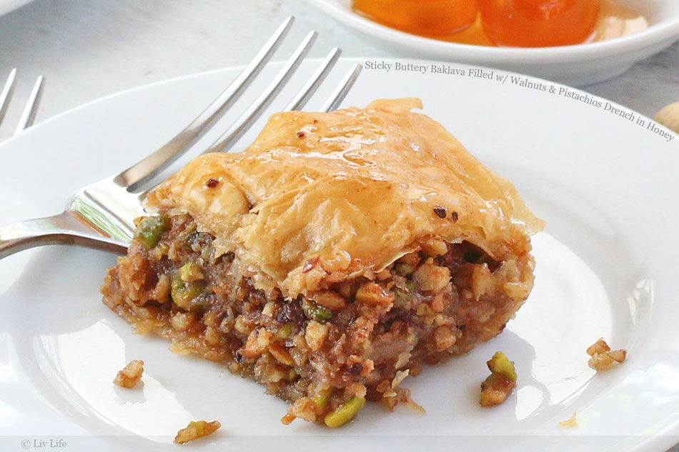 Sticky Buttery Baklava Filled with Walnuts and Pistachios Drench in Honey