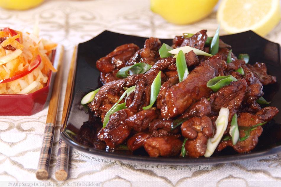 Stir-Fried Pork Tenderloin with Ginger, Lemon, Honey and Five Spice ...