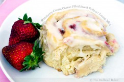 Strawberry Cream Cheese Filled Sweet Rolls with Lemon Icing