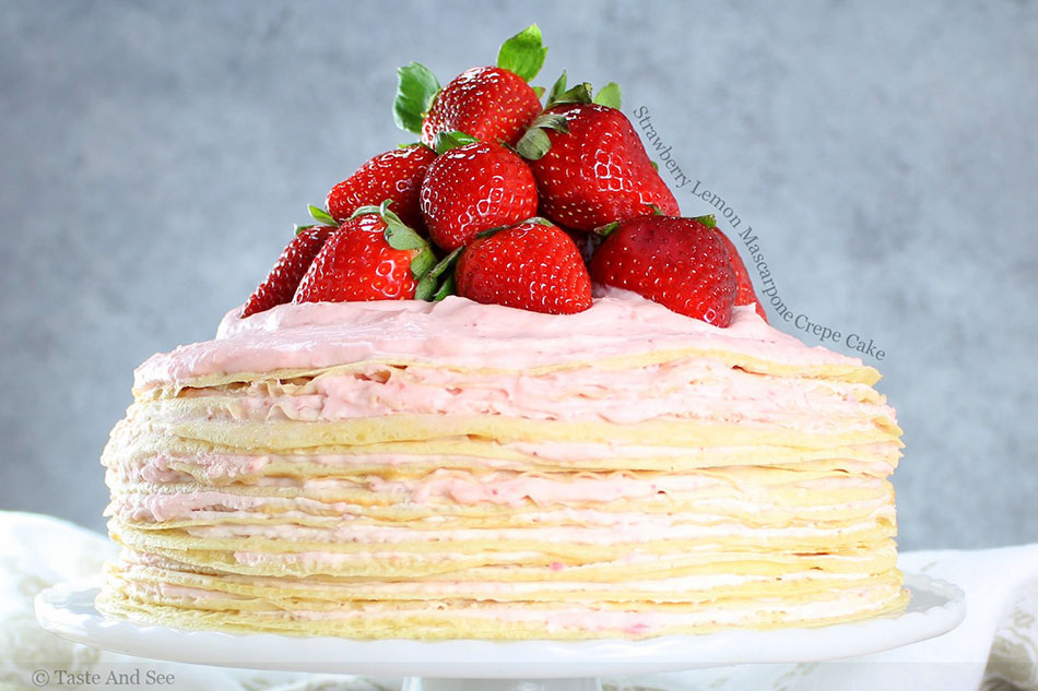 Strawberry Lemon Mascarpone Crepe Cake