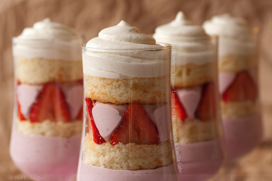 Strawberry Mousse Layered with Strawberries and Vanilla Cake