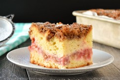 Strawberry Rhubarb Coffee Cake with Brown Sugar Cinnamon Crumb