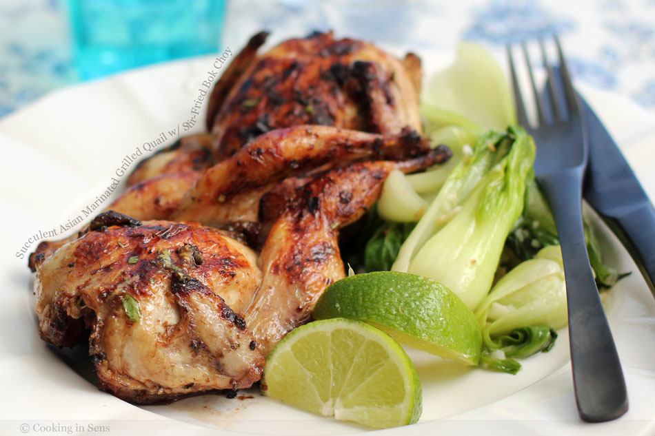 Succulent Asian Marinated Grilled Quail with Stir-Fried Bok Choy