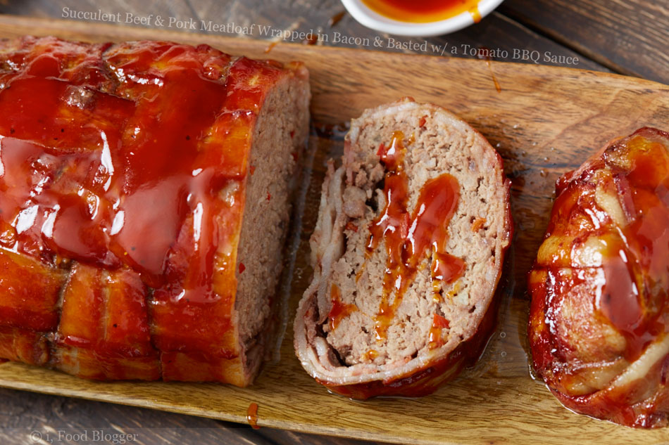 Succulent Beef and Pork Meatloaf Wrapped in Bacon and Basted with a Tomato BBQ Sauce