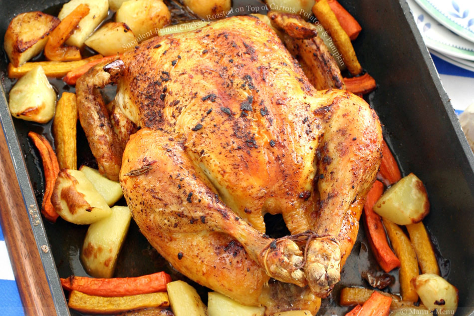 Succulent Brined Chicken Roasted on Top of Carrots, Potatoes and Pumpkin
