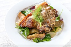 Succulent Grilled Pork with Apples, Fennel and Spinach