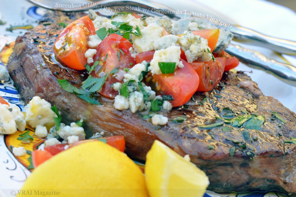 Succulent Grilled Rib-Eye Steak with Gorgonzola Tomato Vinaigrette