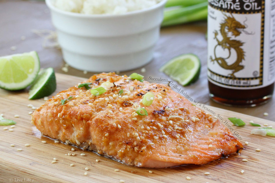 Succulent Grilled Salmon with a Sesame, Soy, Honey Glaze