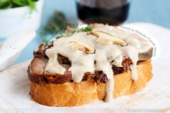 Succulent Open-Faced Roasted Pork Sandwich Smothered in Shiitake Cream Sauce