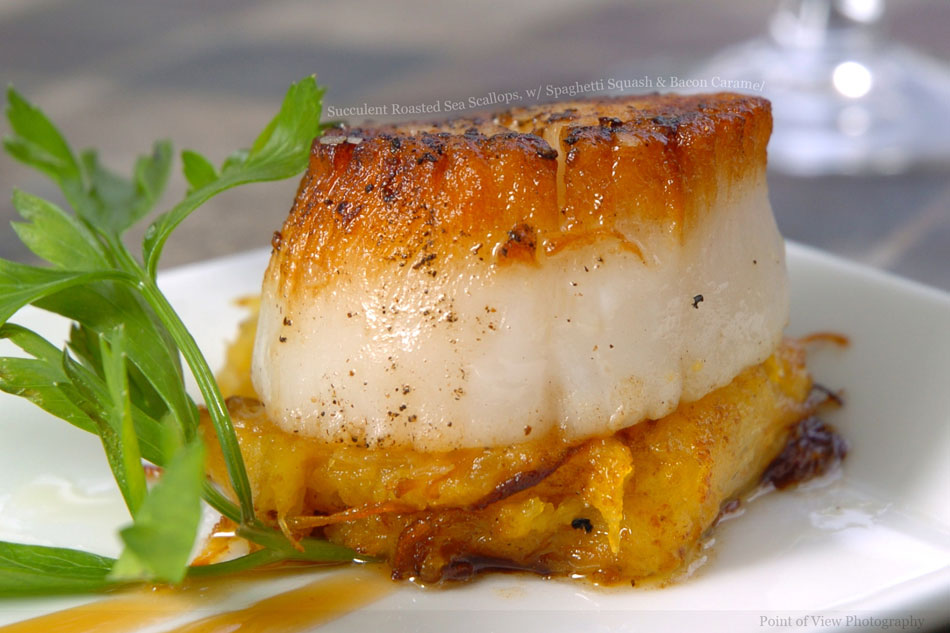 Succulent Roasted Sea Scallops, with Spaghetti Squash and Bacon Caramel