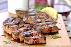 Succulent Seared New York Strip Steak with Red Wine Balsamic Reduction