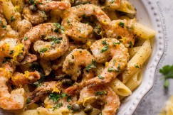 Succulent Shrimp in a Lemon Butter Caper Sauce with Penne Pasta