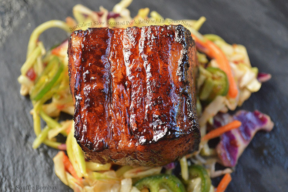 Succulent Slow Roasted Pork Belly with Jalapeno Slaw